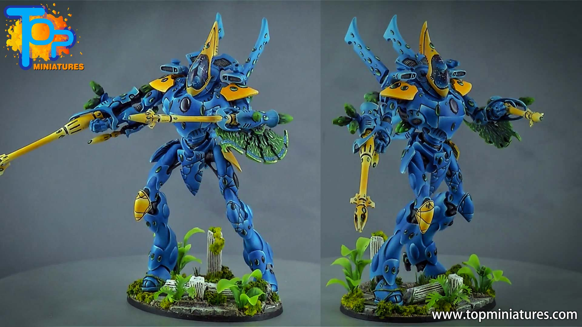 blue & yellow painted eldar wraithknight (1)