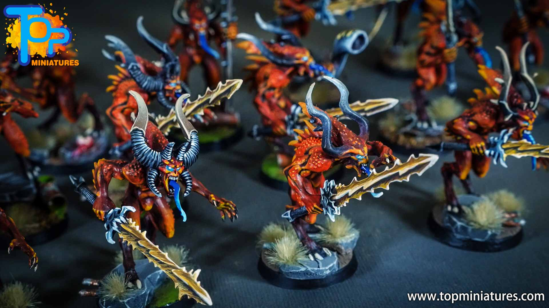 khorne bloodletters painted freehand (6)