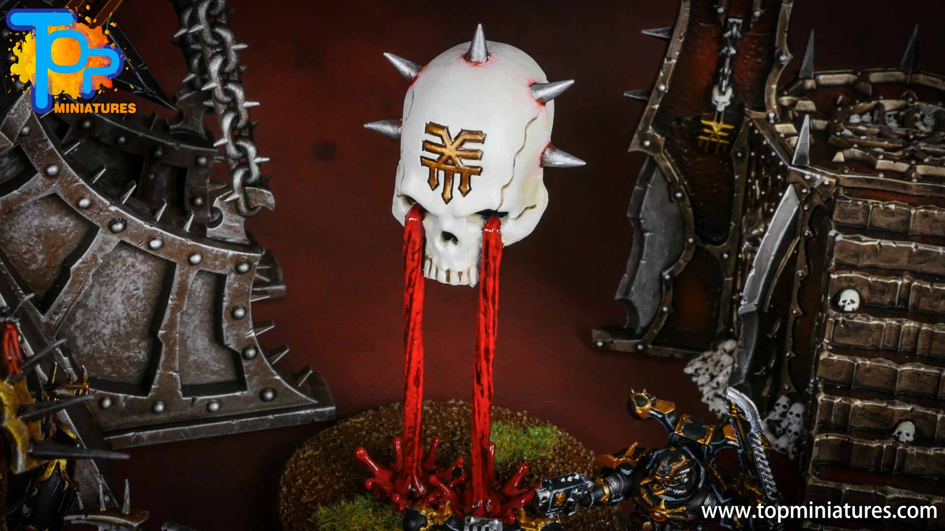 Black legion painted hexgorger skulls (3)