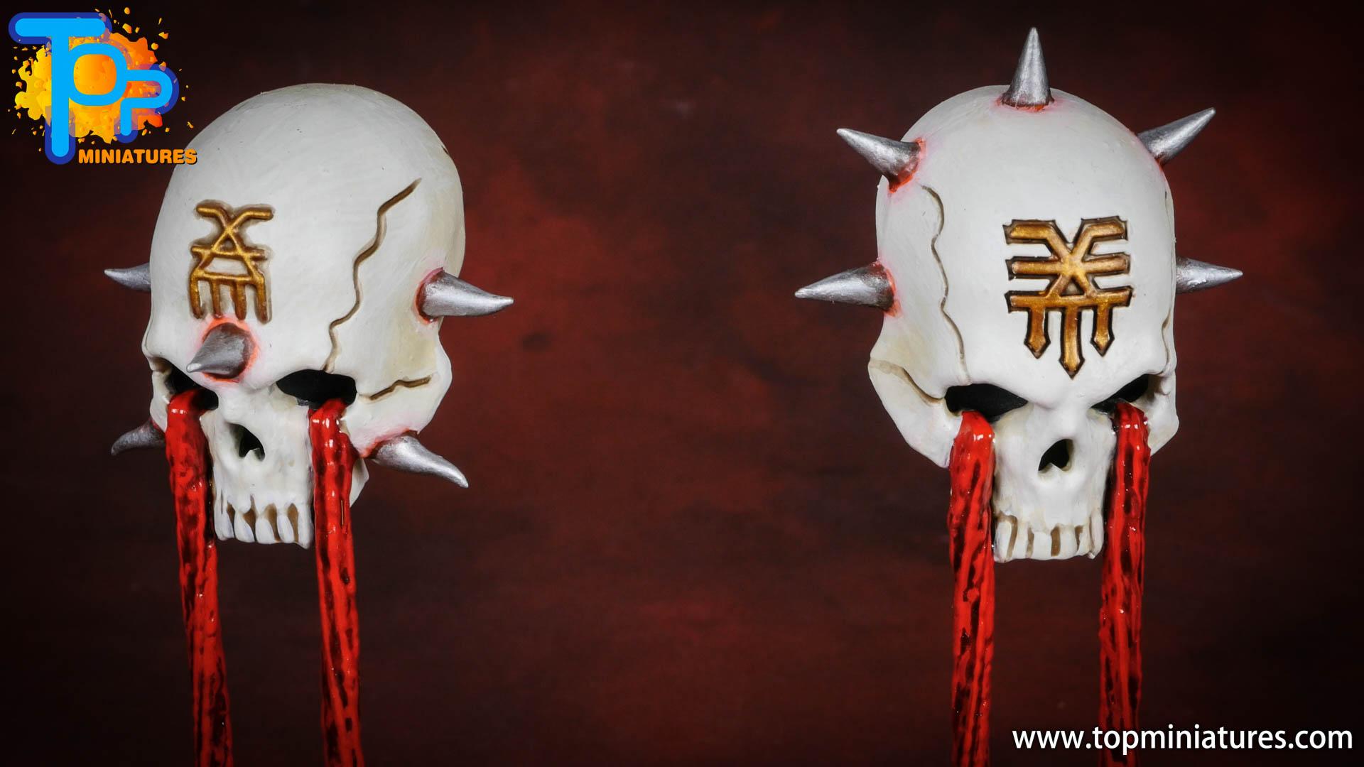 Black legion painted hexgorger skulls (5)