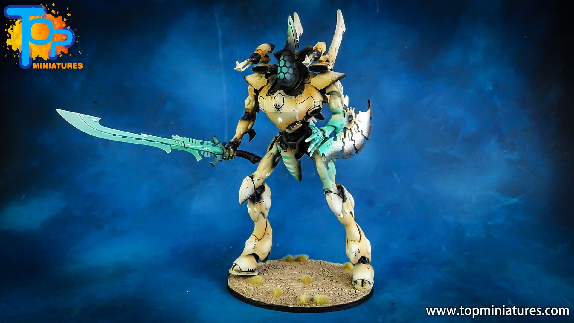 aeldari painted white wraithknight (2)