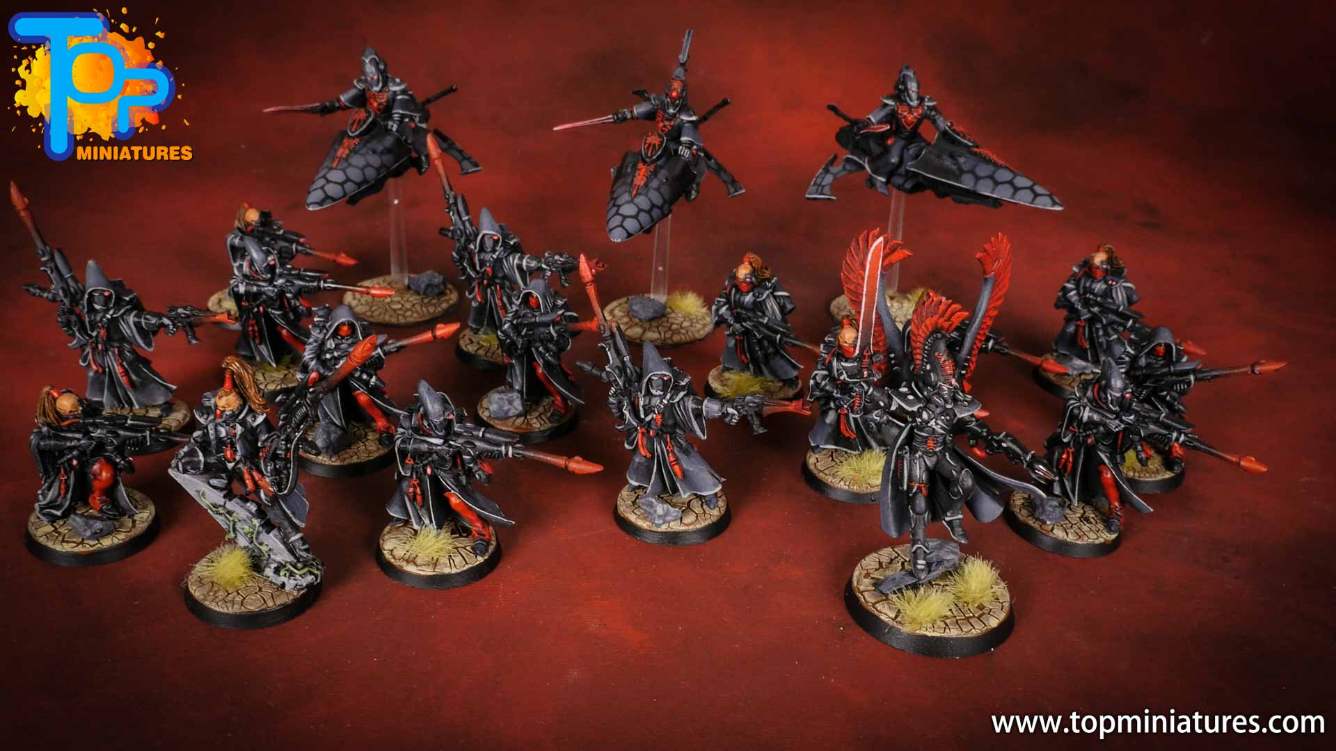 eldar painted army black & red