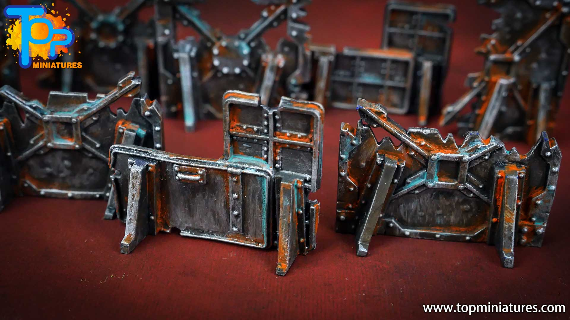 Necromunda painted rusted old terrain pieces (1)