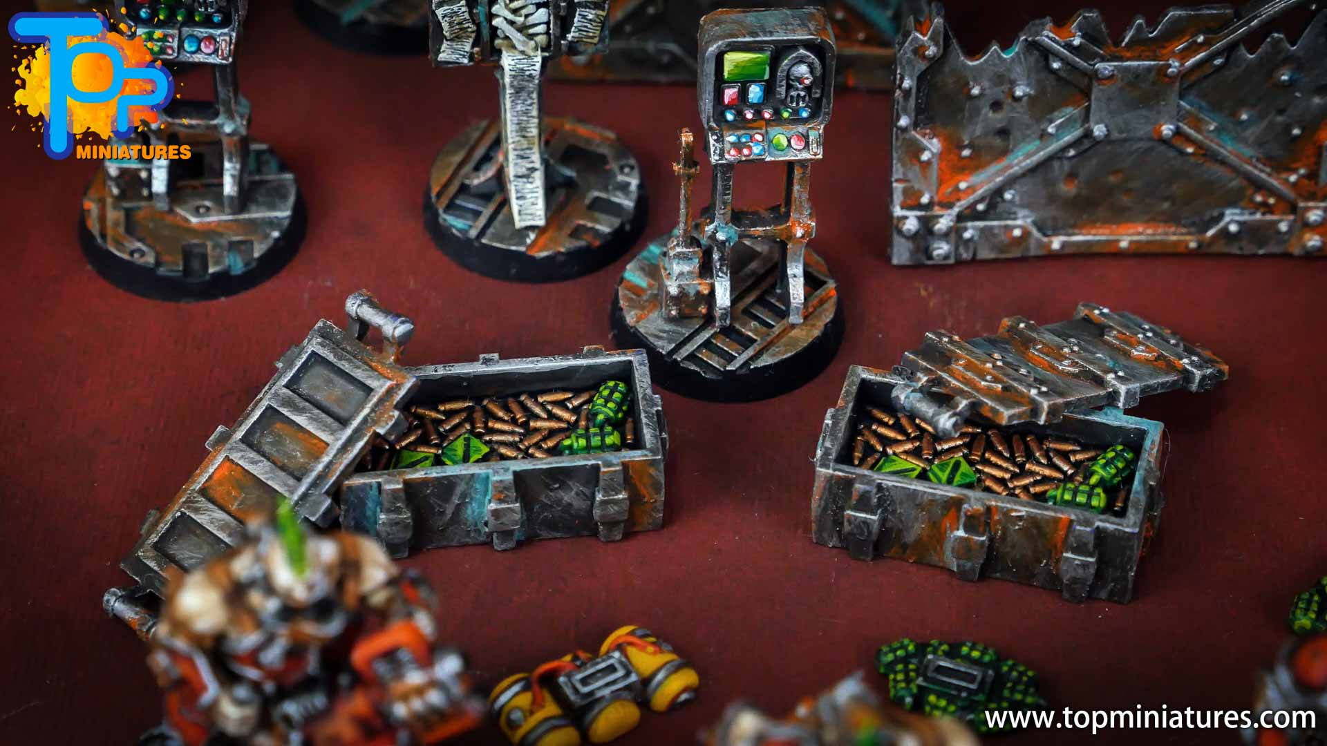 Necromunda painted rusted old terrain pieces (22)
