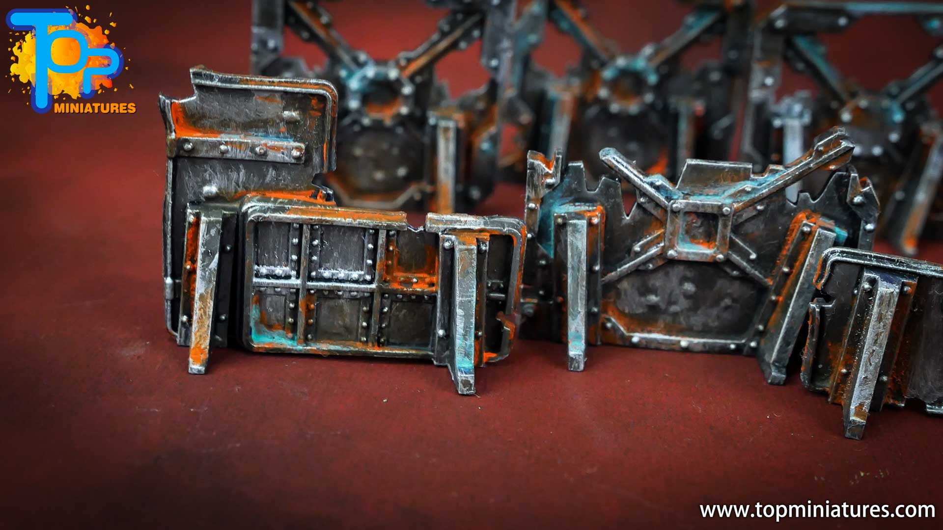Necromunda painted rusted old terrain pieces (4)