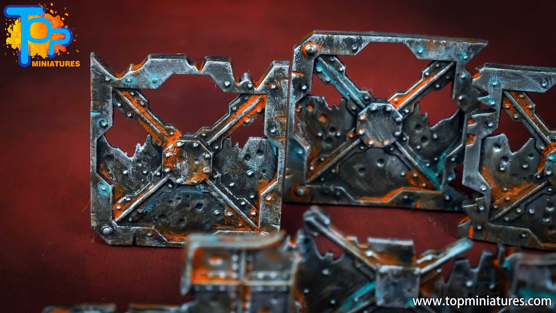 Necromunda painted rusted old terrain pieces (8)