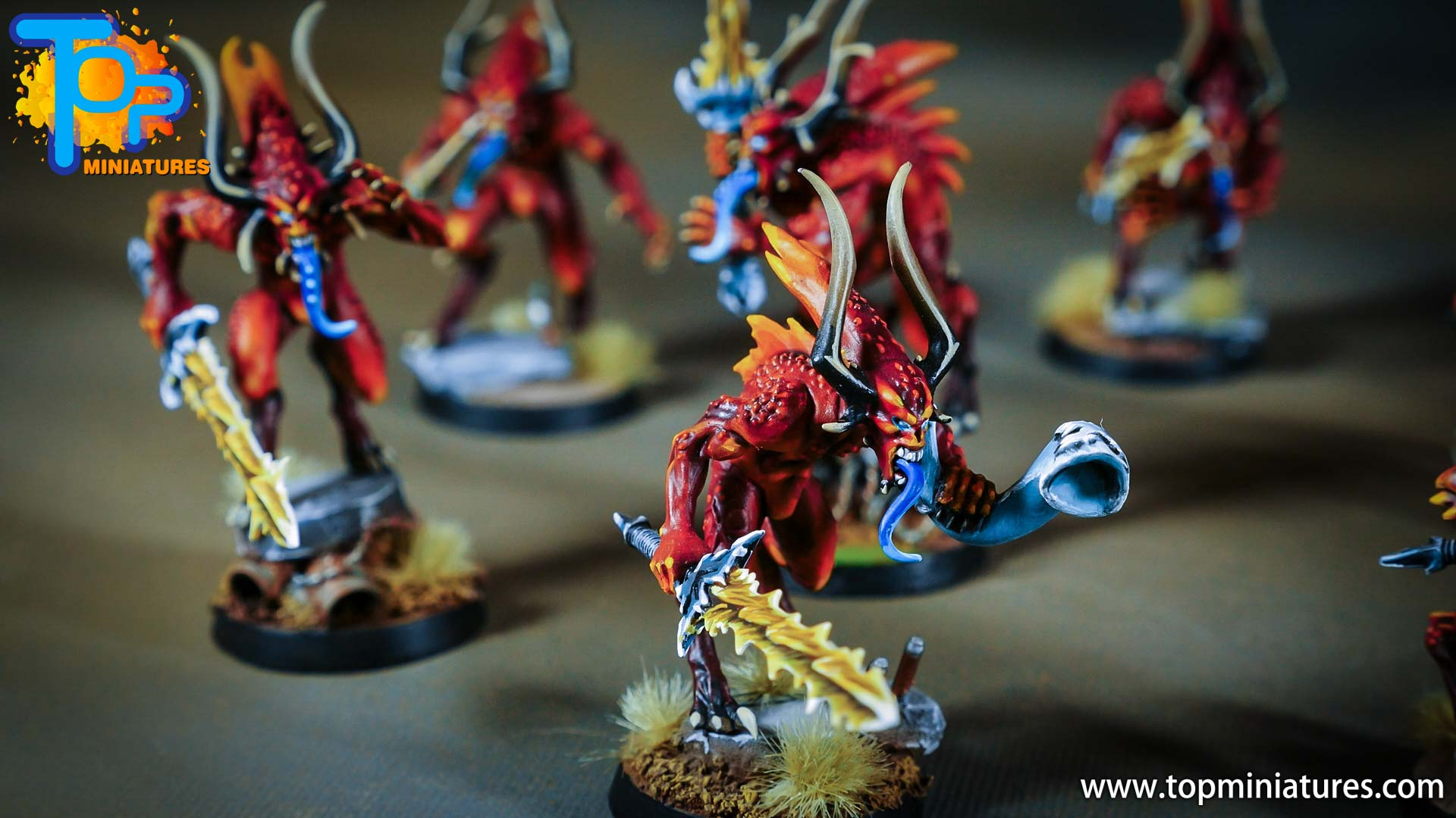 khorne bloodletters painted freehand (1)