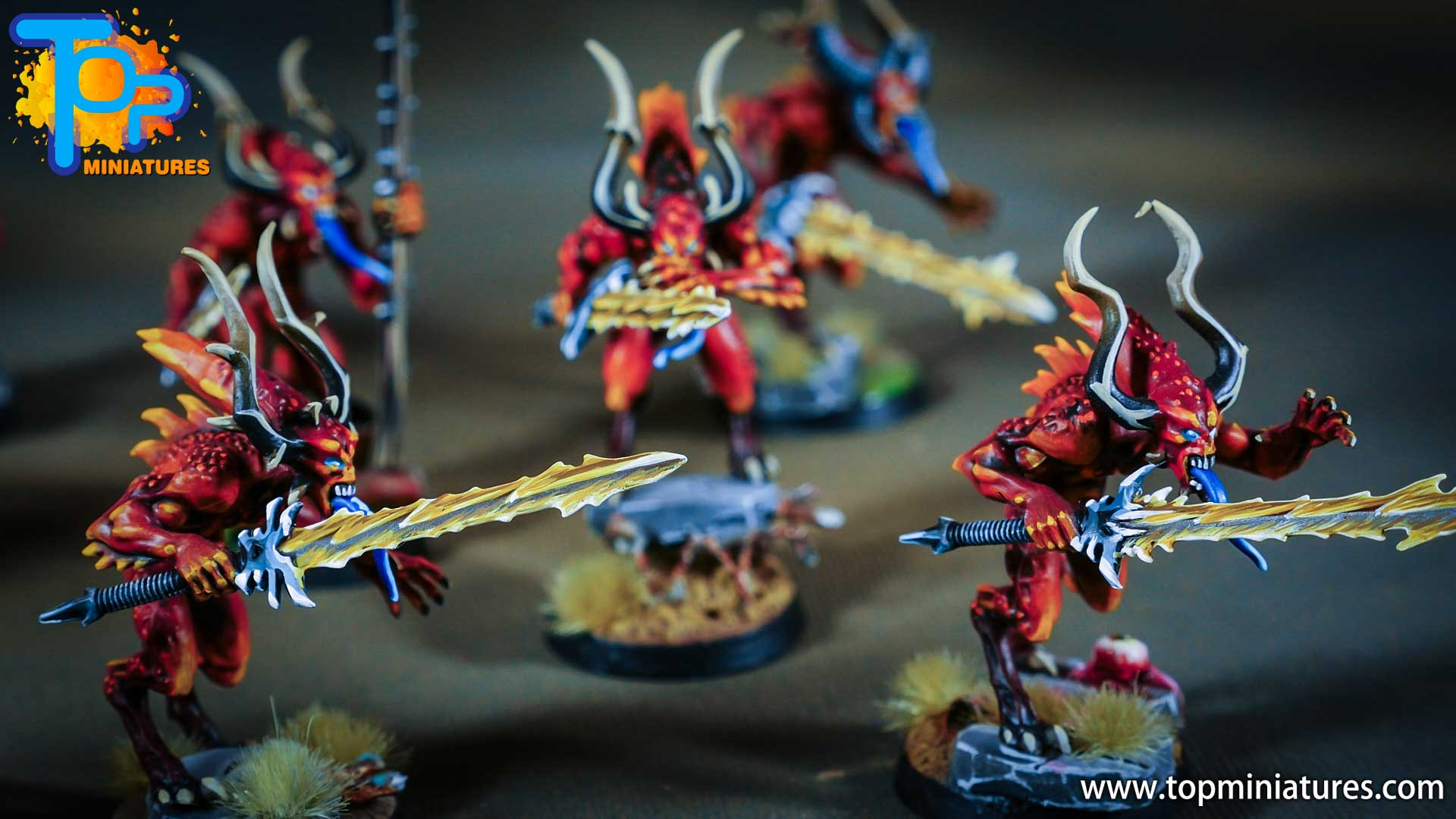 khorne bloodletters painted freehand (2)
