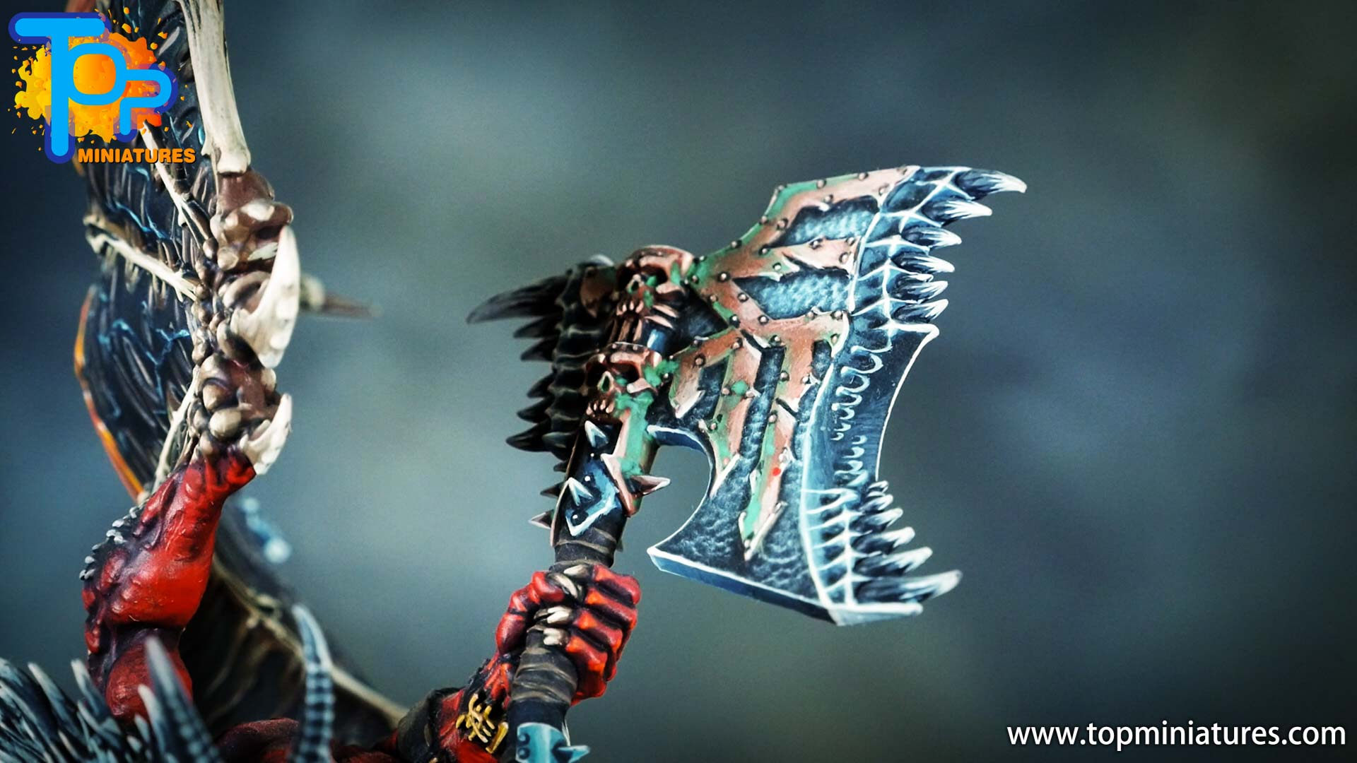 painted khorne bloodthirster axe