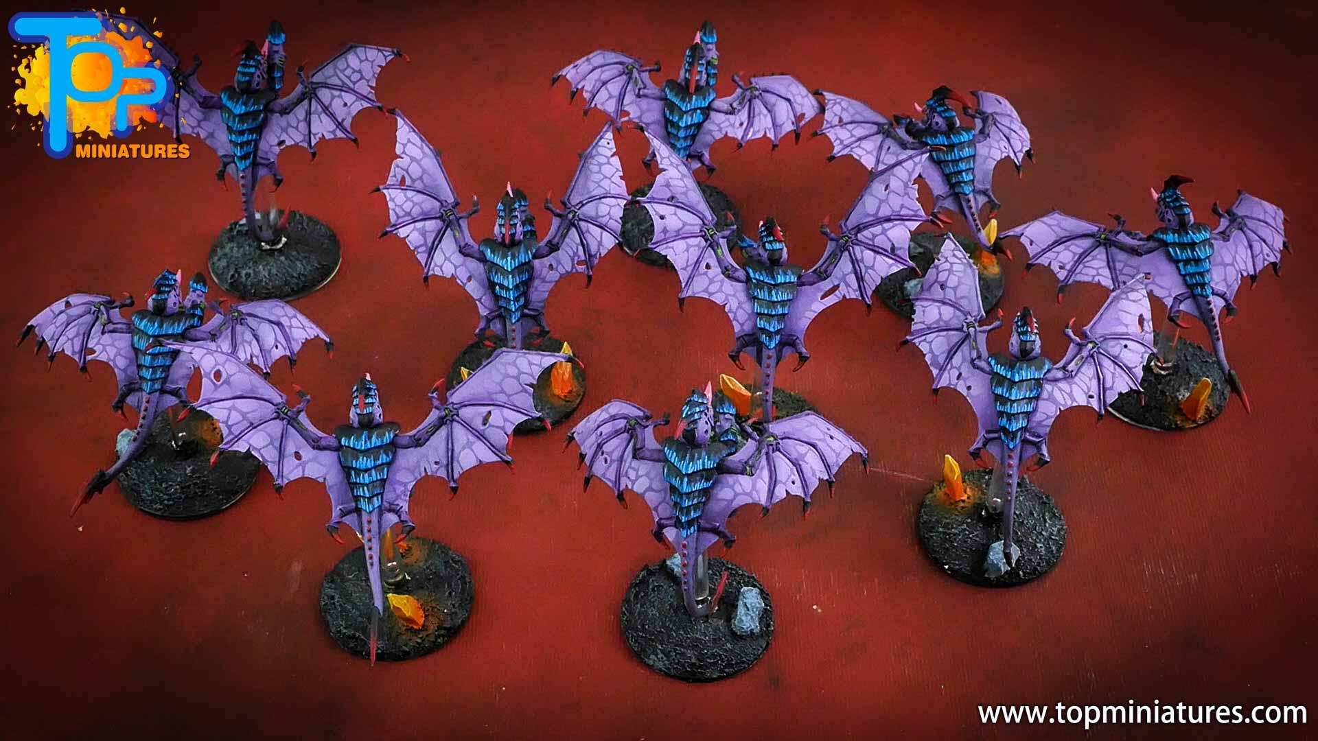 purple tyranids gargoyles crystal bases (2)