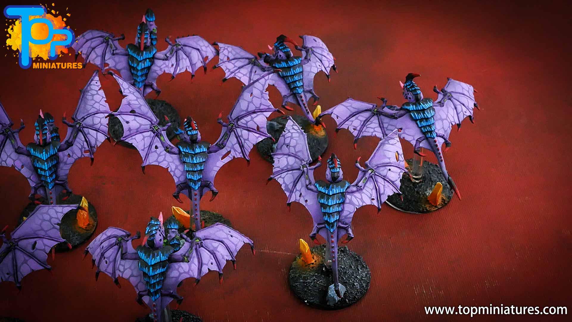 purple tyranids gargoyles crystal bases (3)
