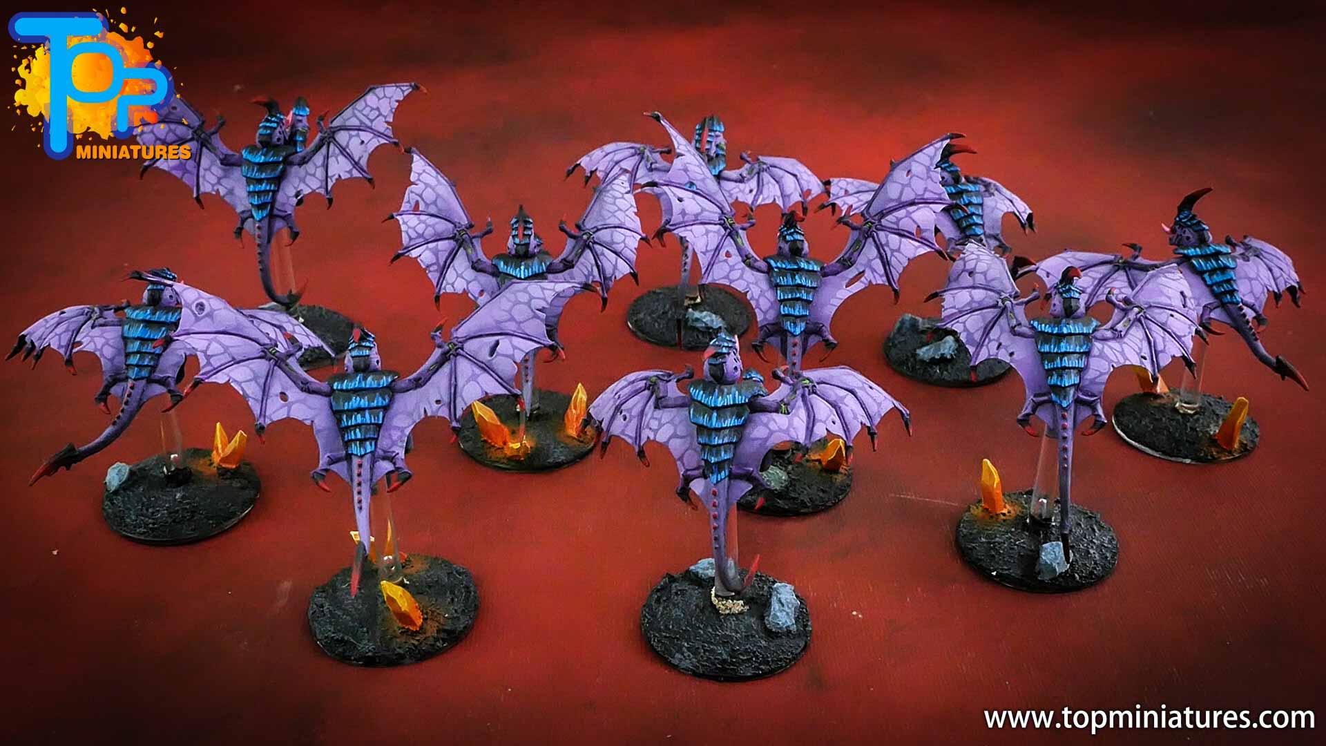 purple tyranids gargoyles crystal bases (4)